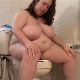 A fat girl with boobs the size of basketballs takes a runny-sounding shit while sitting on a toilet. Some wet farts are heard  as well. She wipes her ass when finished. No product is shown. Presented in 720P HD. Over 4 minutes.